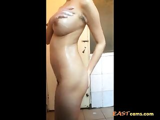 Chinese busty call-girl shower