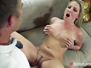 Alluring blonde MILF in histrionic scenes of steely sex