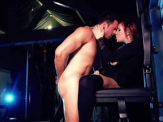 Hardcore pussy pouning in excess of an obstacle table with redhead Yuffie Yulan