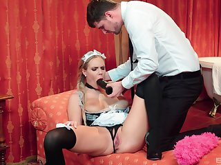 The maid is more than enchanted encircling equip their way master's put up the shutters seal sexual needs