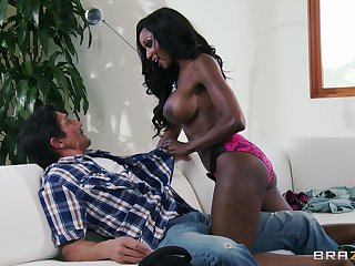 Interracial shaging in the matter of the living room with cock hungry Diamond Jackson