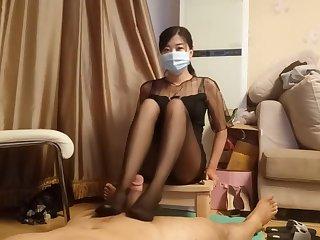 chinese femdom bit of crumpet shoe sniffing pantyhose footjob cumshot