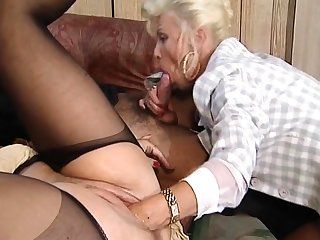 Hot and horny fair-haired adult fucked and fisted at bottom bed