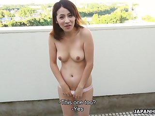 Japanese vixen with a nice bust snacks on a guy's sausage before fucking