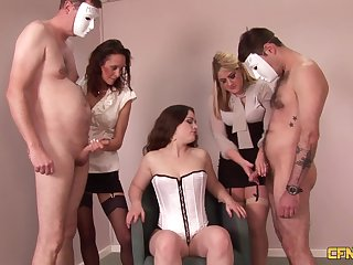 Leah Lixx and her babes playing with yoke snug dicks in a groupie