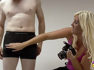 Pale dude with a distressed dick gets pleasured by photographer Donna Mills
