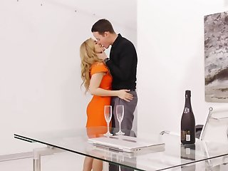 Romantic dinner ends for excited couple with sensual sex