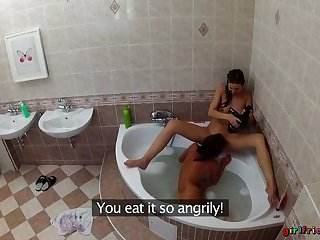 Lesbians Take a shower Each Other's Wet Pussies In Make an issue of Bathtub
