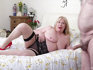 Fat amateur wife Trisha in stockings gets fucked wits her lover